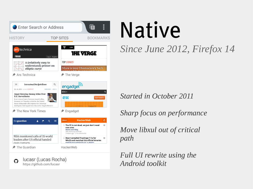 Native Since June 2012, Firefox 14 Started in O...