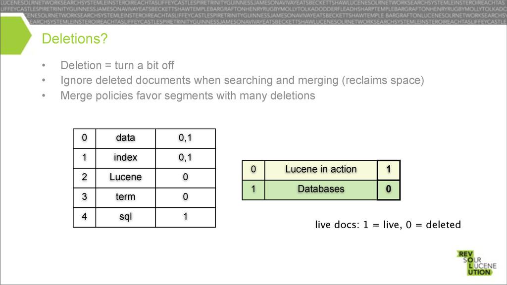 Lucene term 2 3 • Deletion = turn a bit off • I...