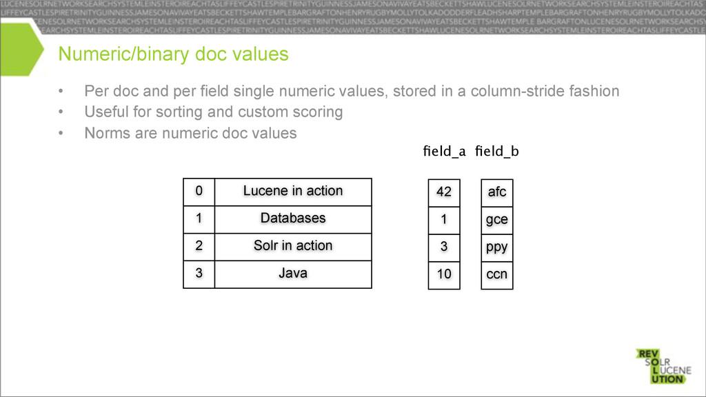 • Per doc and per field single numeric values, ...