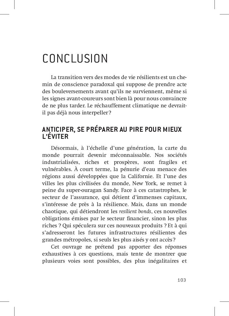 103 Conclusion La transition vers des modes de ...