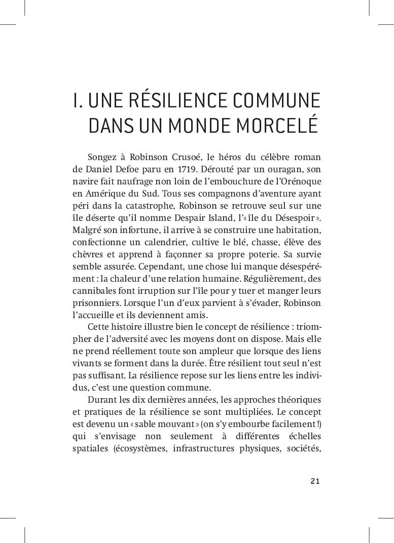 21 21 I.UNE RÉSILIENCE COMMUNE dans UN MONDE ...