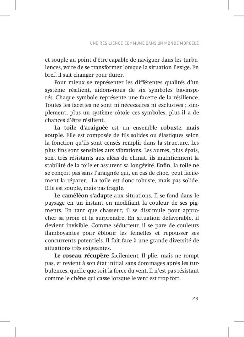 UNE RéSILIENCE COMMUNE dans UN MONDE MORCELé 23...