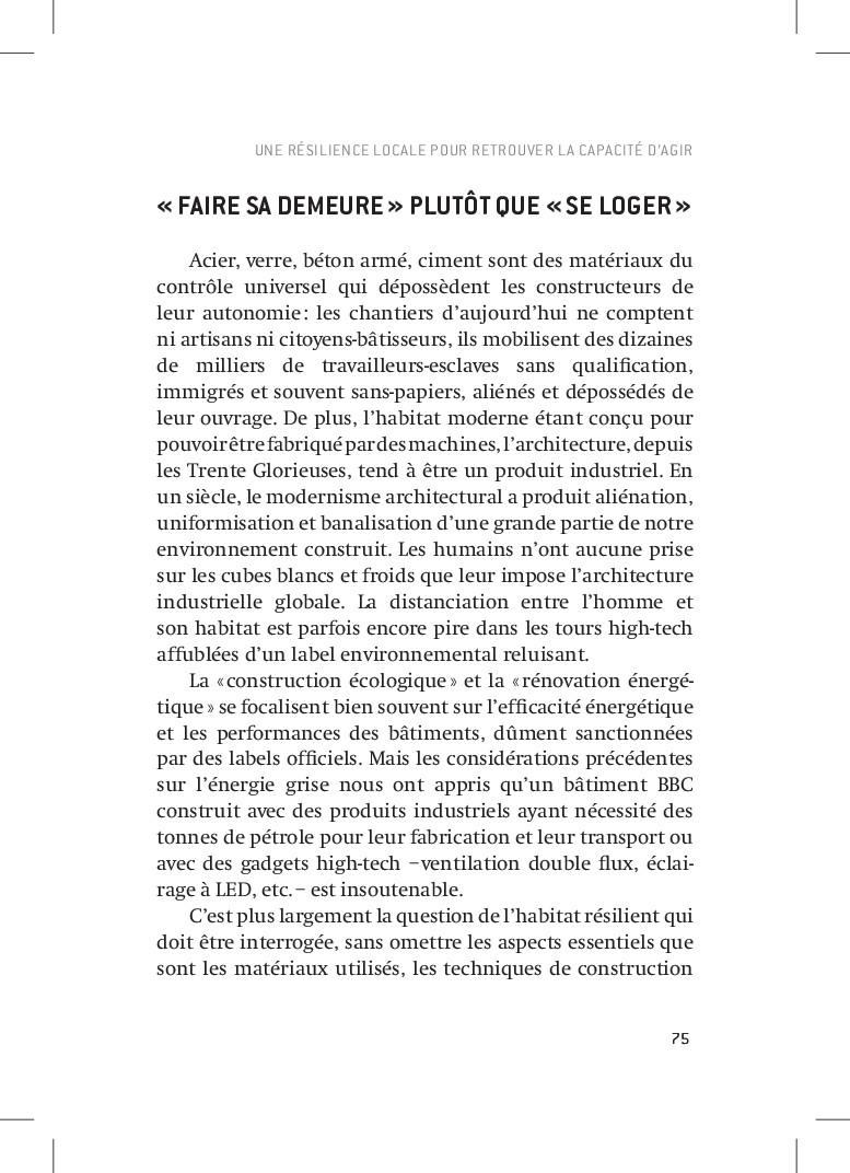 75 «FAIRE SA DEMEURE» PLUTÔT QUE «SE LOGER»...