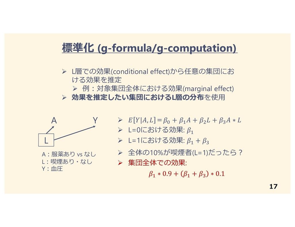 17 Ø L層での効果(conditional effect)から任意の集団にお ける効果を推...