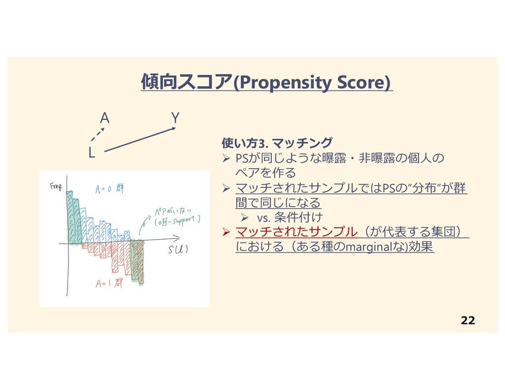 22 傾向スコア(Propensity Score) 使い⽅3. マッチング Ø PSが同じよ...