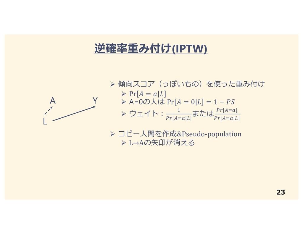 23 逆確率重み付け(IPTW) A Y L Ø 傾向スコア(っぽいもの)を使った重み付け Ø...
