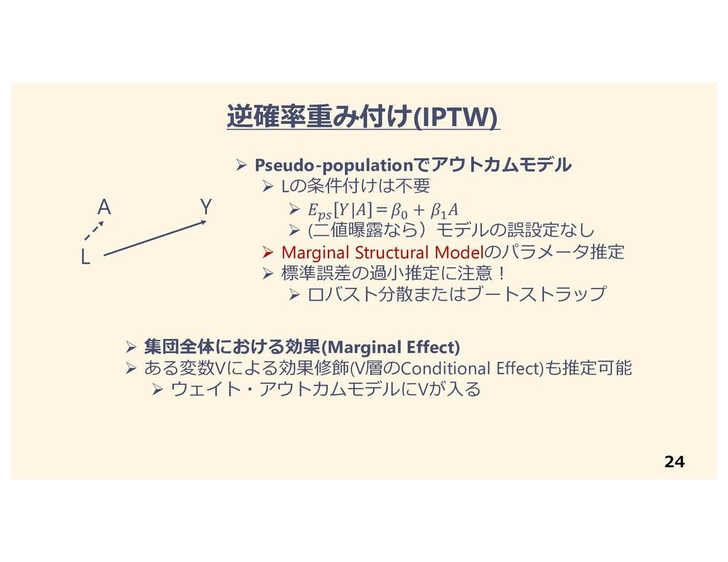 24 逆確率重み付け(IPTW) A Y L Ø Pseudo-populationでアウトカ...