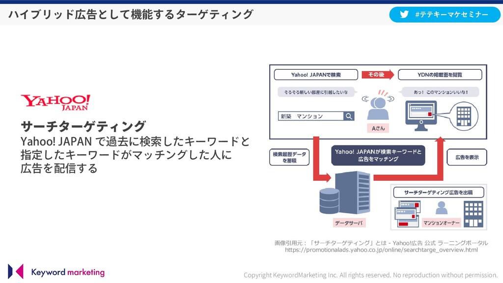 サーチターゲティング Yahoo! JAPAN で過去に検索したキーワードと 指定したキーワー...