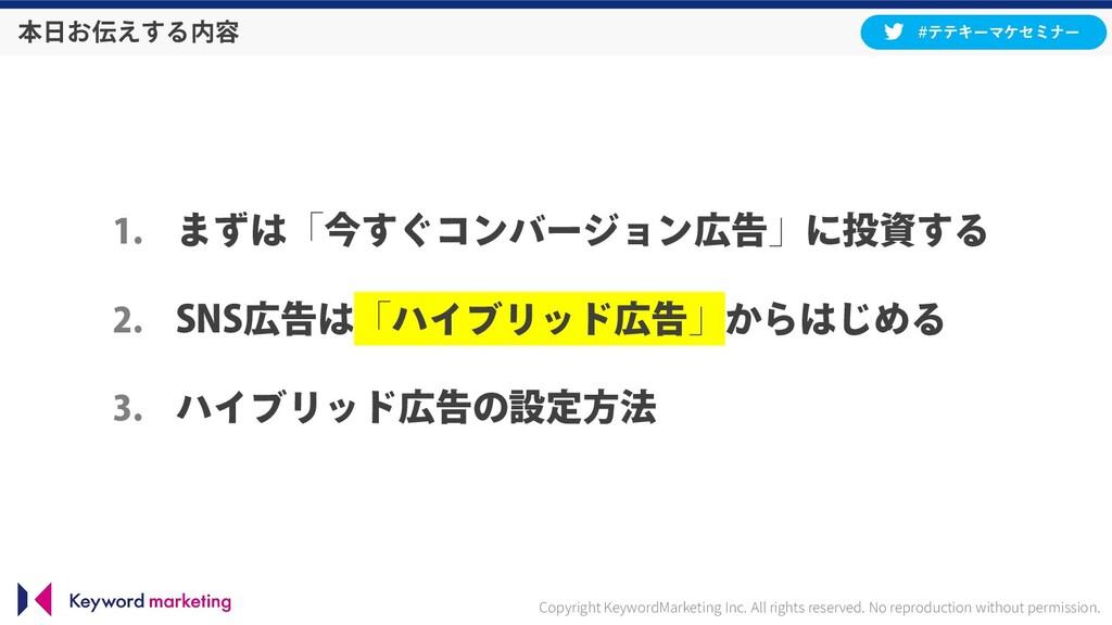 本日お伝えする内容 1. まずは「今すぐコンバージョン広告」に投資する 2. SNS広告は「ハ...