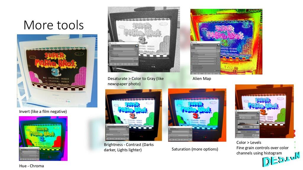 More tools Invert (like a film negative) Desatu...