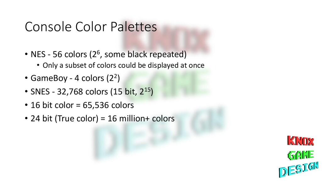 Console Color Palettes • NES - 56 colors (26, s...