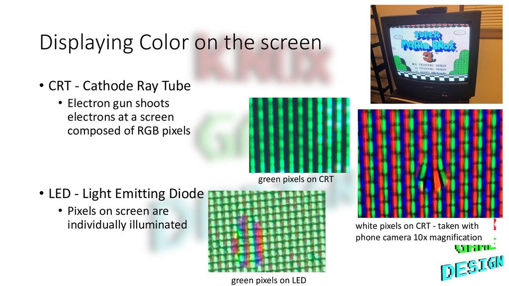 Displaying Color on the screen • CRT - Cathode ...