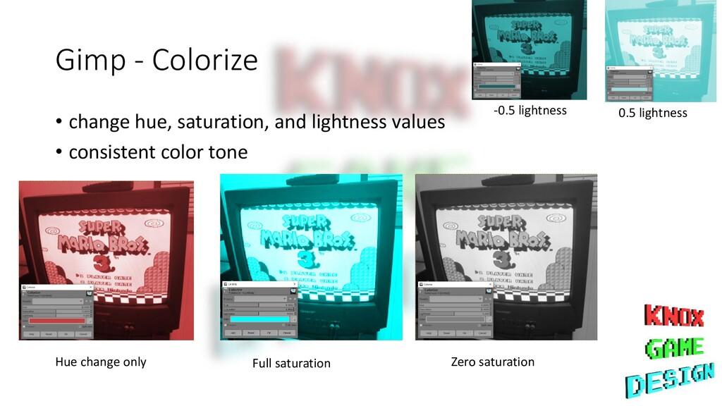 Gimp - Colorize • change hue, saturation, and l...