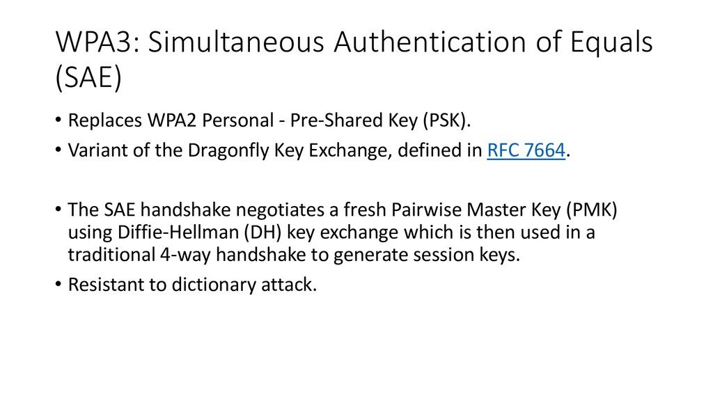 WPA3: Simultaneous Authentication of Equals (SA...