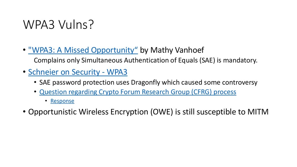 """WPA3 Vulns? • """"WPA3: A Missed Opportunity"""" by M..."""