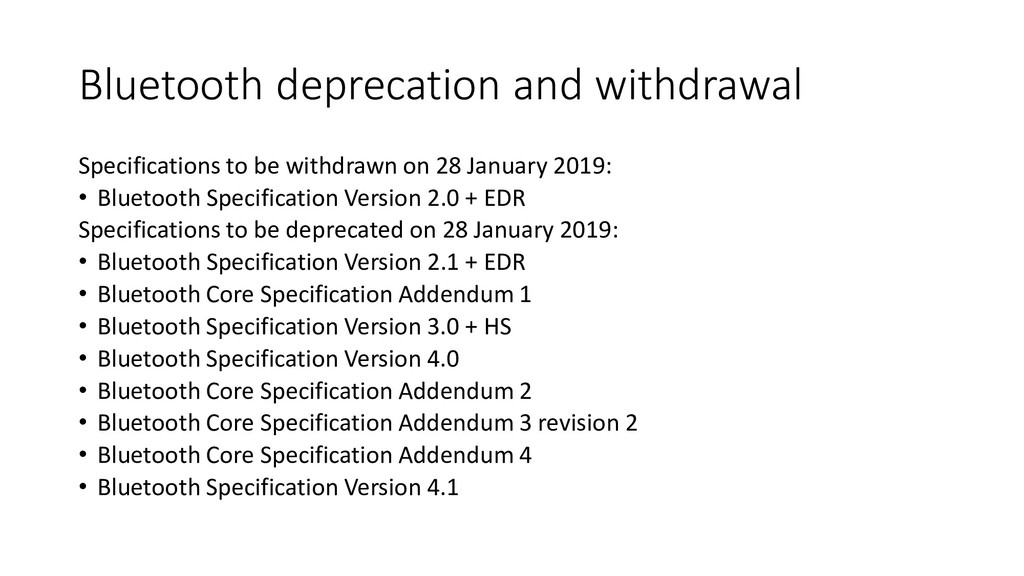 Bluetooth deprecation and withdrawal Specificat...