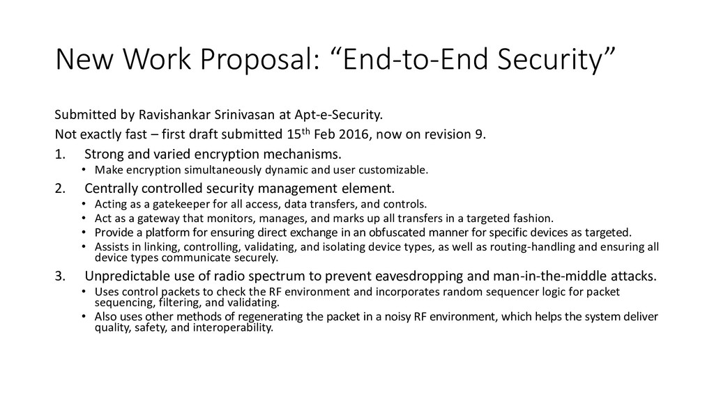 """New Work Proposal: """"End-to-End Security"""" Submit..."""