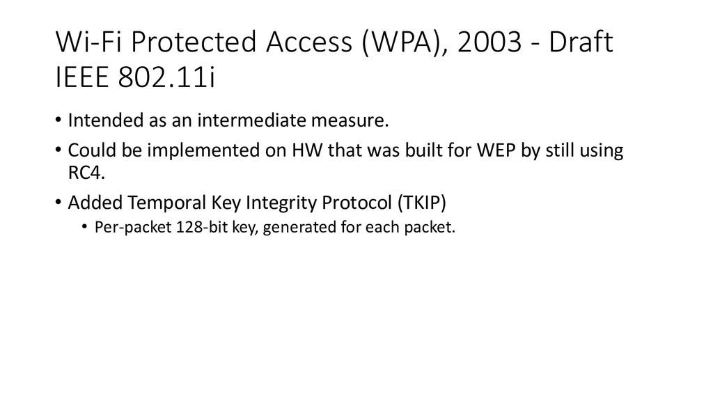Wi-Fi Protected Access (WPA), 2003 - Draft IEEE...