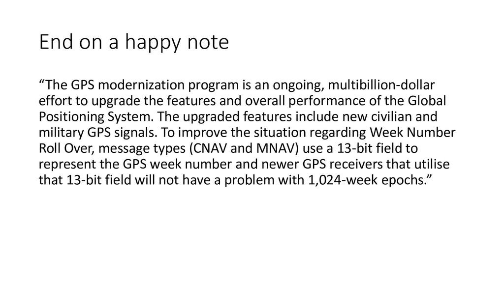 """End on a happy note """"The GPS modernization prog..."""