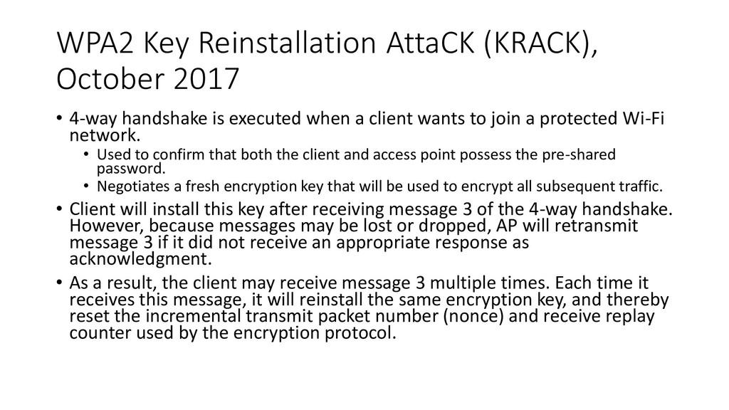 WPA2 Key Reinstallation AttaCK (KRACK), October...