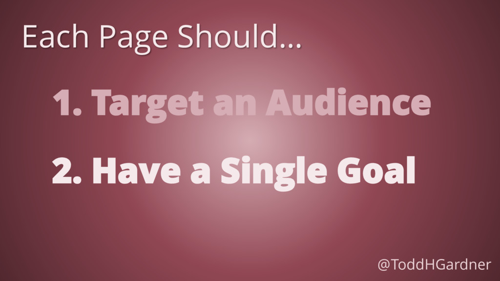 1. Target an Audience Each Page Should… 2. Have...
