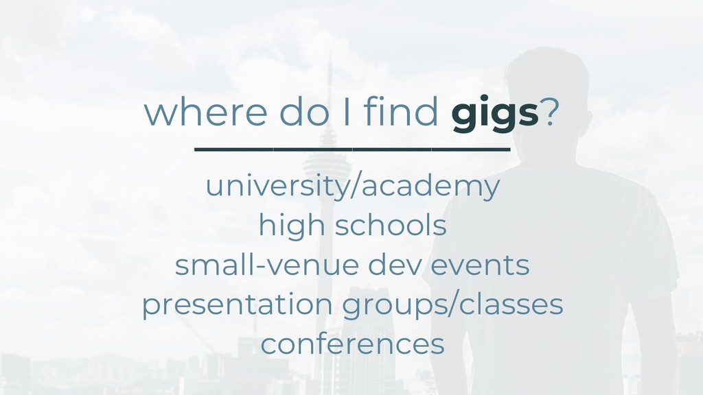 where do I find gigs? ________________ universi...