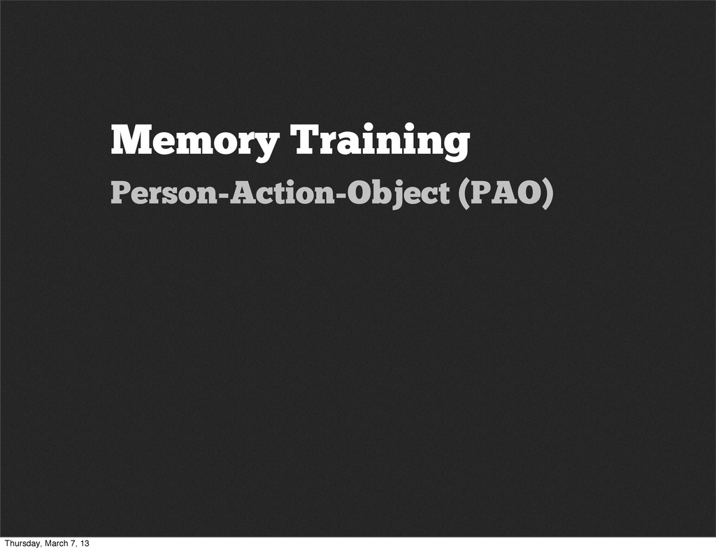 Memory Training Person-Action-Object (PAO) Thur...