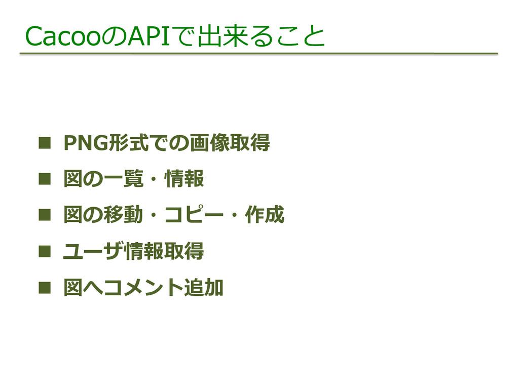 CacooのAPIで出来ること n PNG形式での画像取得 n 図の⼀一覧・情報 n...