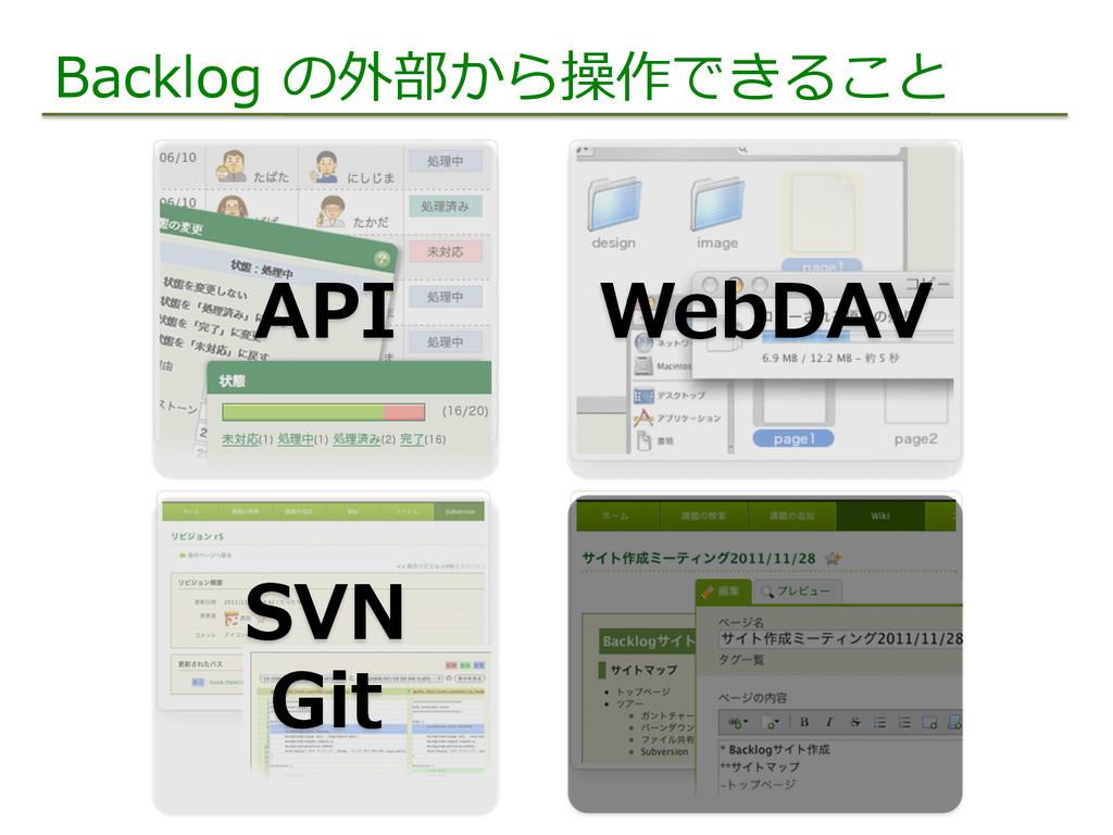 Backlog の外部から操作できること WebDAV SVN Git API
