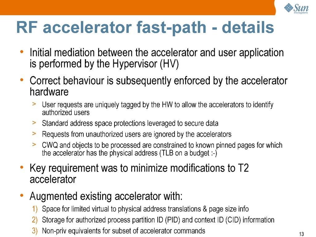 + Sun mlcrosyste-ms RF accelerator fast-path - ...