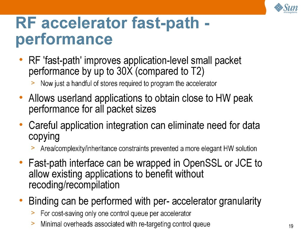 RF accelerator fast-path - performance • RF 'fa...