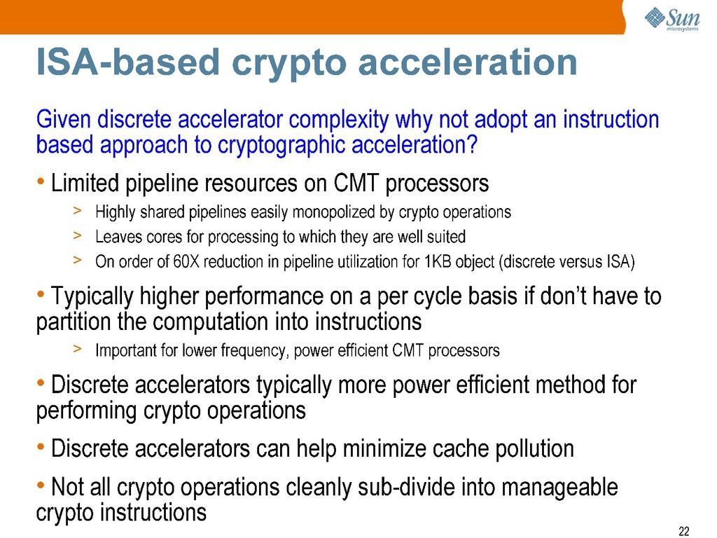 + Sun mlcrosyste-ms ISA-based crypto accelerati...