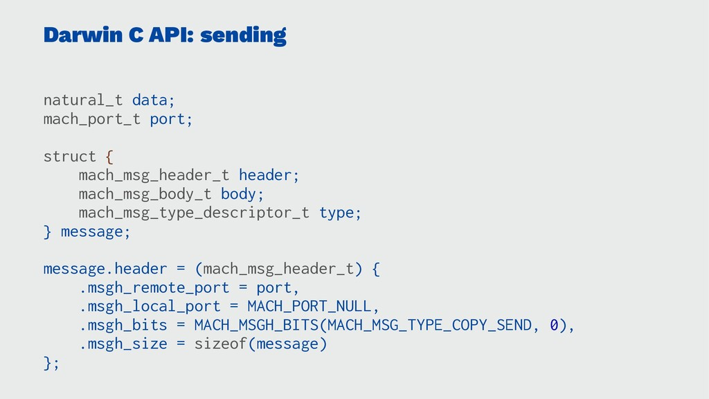 Darwin C API: sending natural_t data; mach_port...