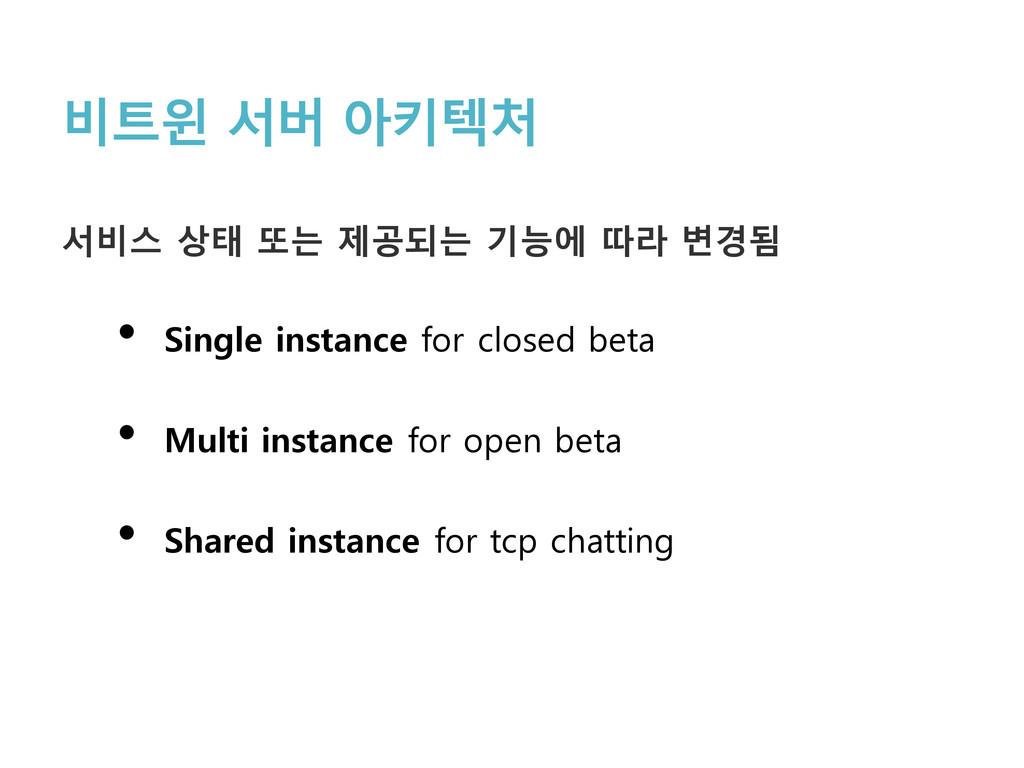 비트윈 서버 아키텍처 서비스 상태 또는 제공되는 기능에 따라 변경됨 • Single ...