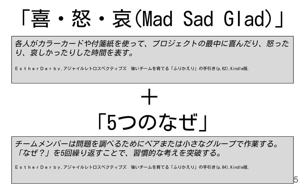 「喜・怒・哀(Mad Sad Glad)」 15 「5つのなぜ」 各人がカラーカードや付箋紙を...