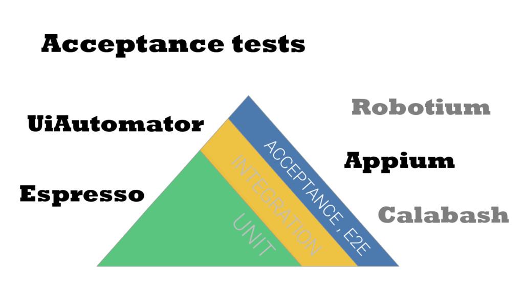 Acceptance tests Espresso UiAutomator Robotium ...