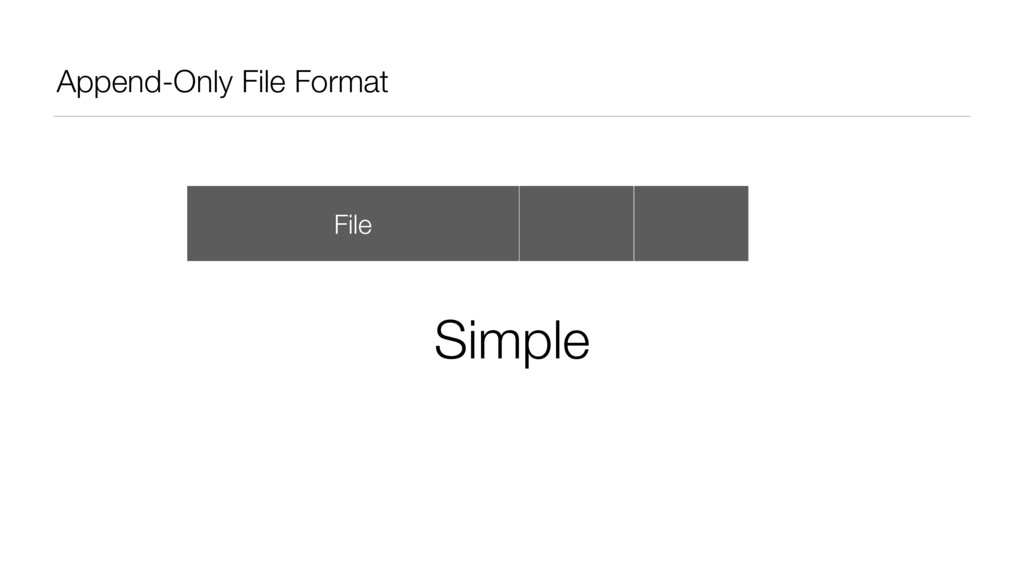 Append-Only File Format File Data Data Simple