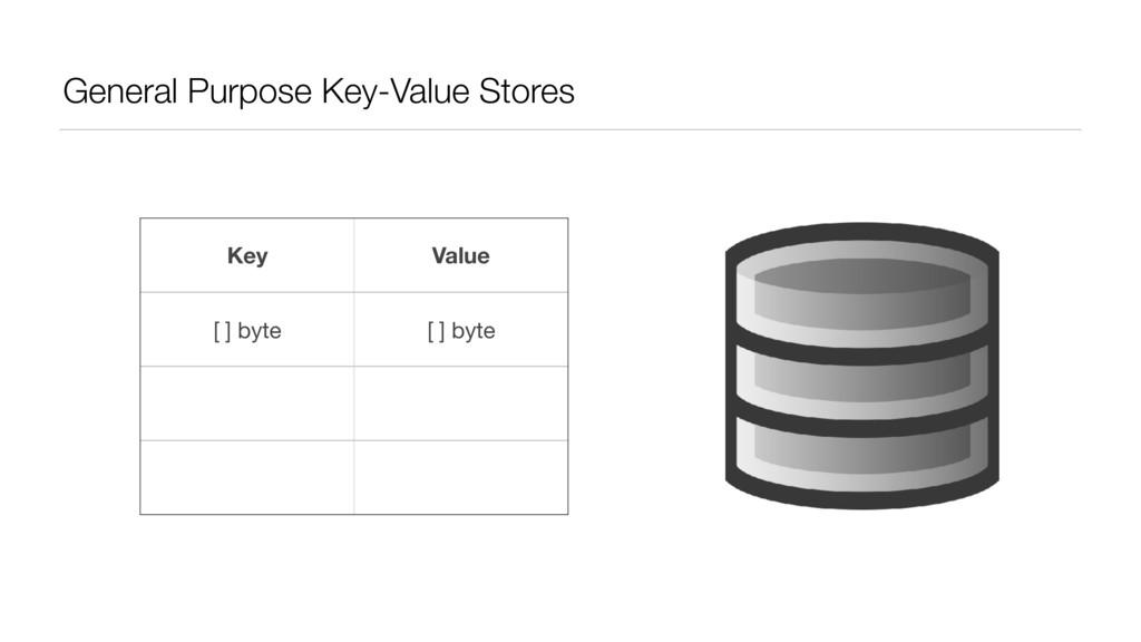 General Purpose Key-Value Stores Key Value [ ] ...