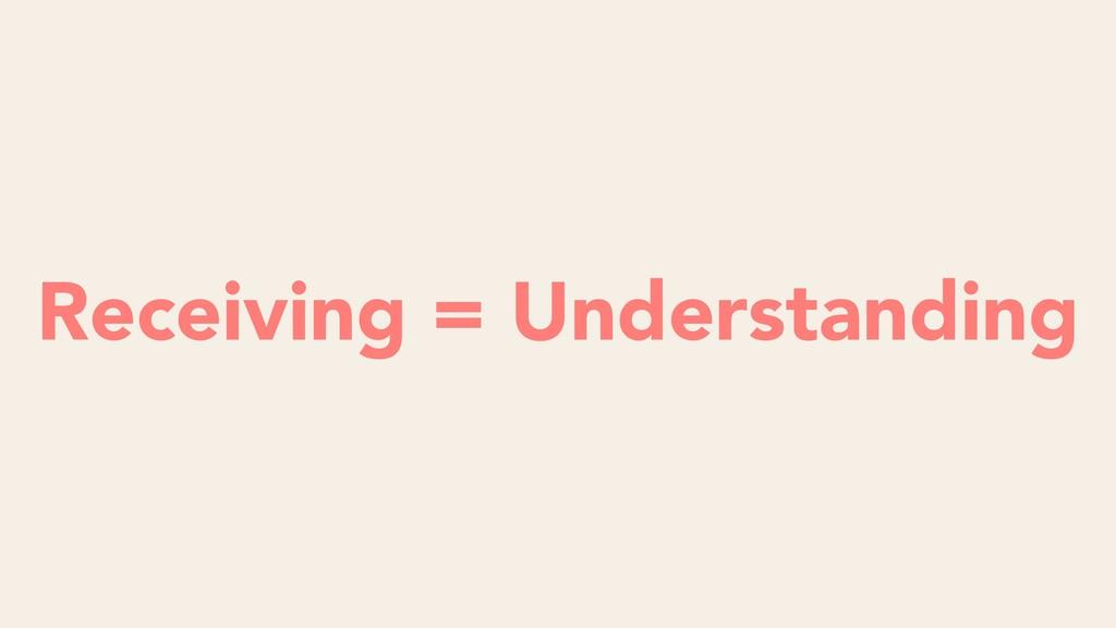 Listening = Obeying Receiving = Understanding