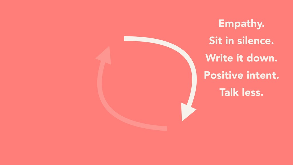 Empathy. Sit in silence. Write it down. Positiv...