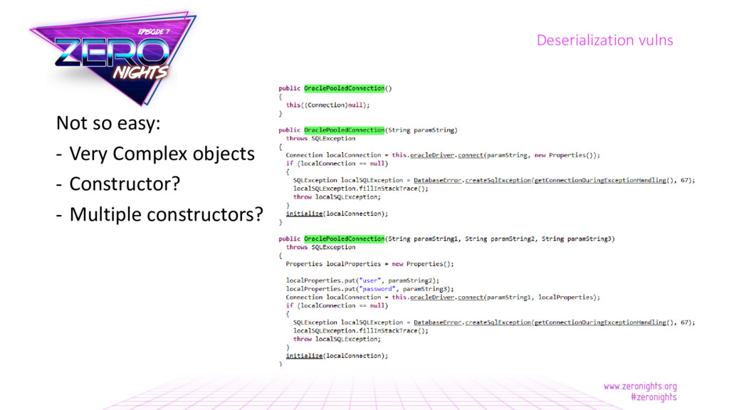 Not so easy: - Very Complex objects - Construct...