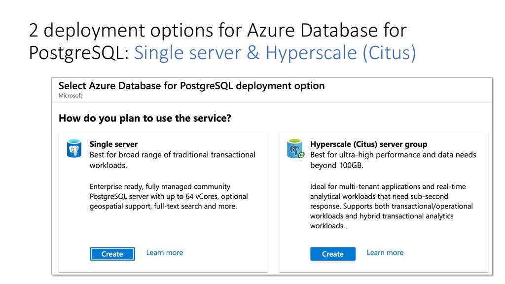 2 deployment options for Azure Database for Pos...