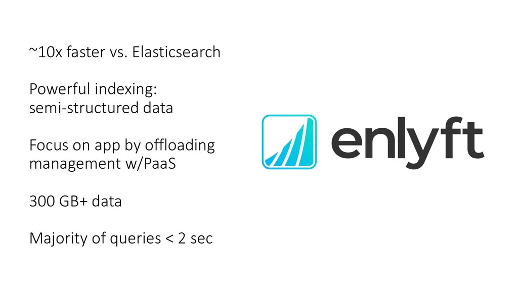 ~10x faster vs. Elasticsearch Powerful indexing...