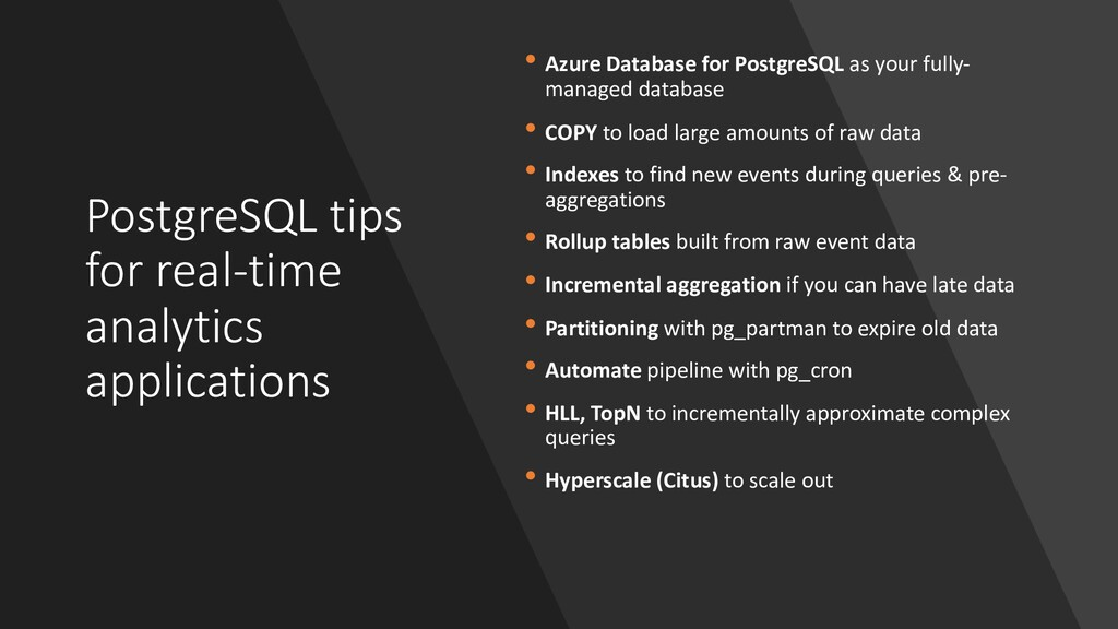 PostgreSQL tips for real-time analytics applica...