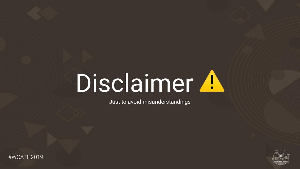 #WCATH2019 Disclaimer ⚠ Just to avoid misunders...