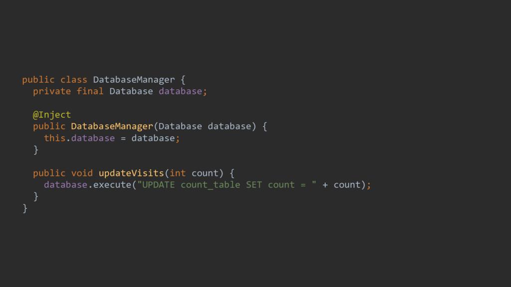 public class DatabaseManager { private final Da...