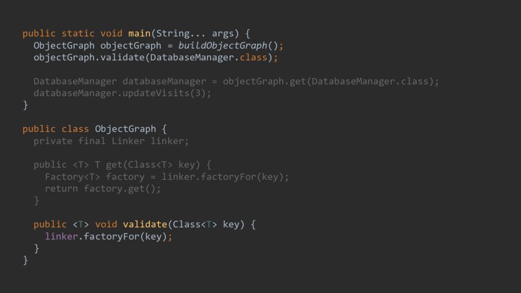 public static void main(String... args) { Objec...