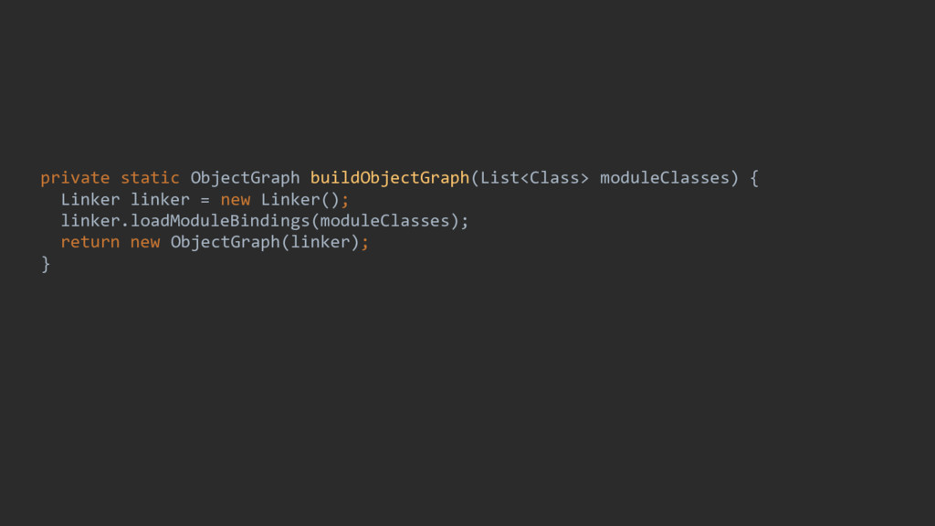 private static ObjectGraph buildObjectGraph(Lis...