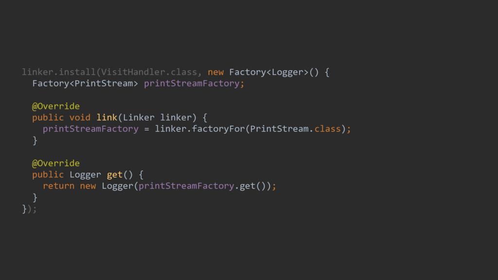 linker.install(VisitHandler.class, new Factory<...