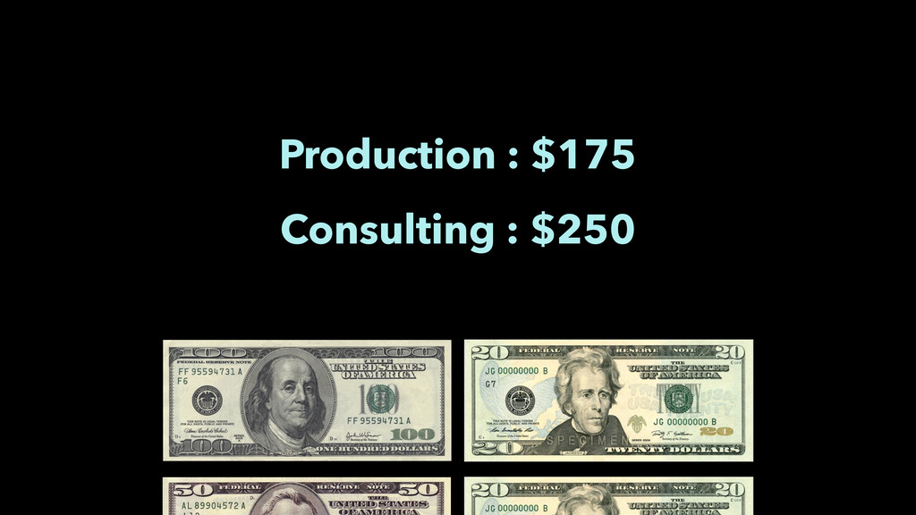 Production : $175 Consulting : $250